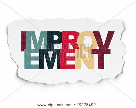 Business concept: Painted multicolor text Improvement on Torn Paper background
