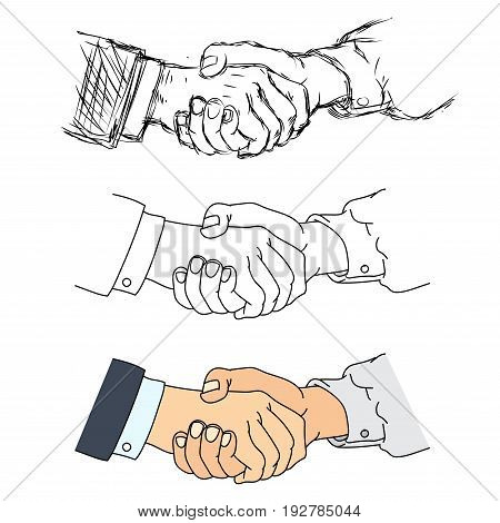 Shaking hands flat design concept. Handshake, business agreement, partnership concepts. Two hands shaking each other. Vector illustration