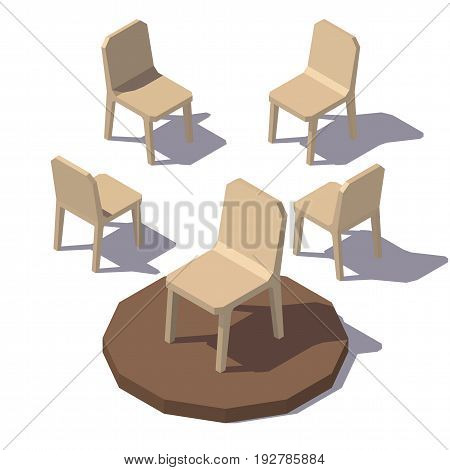 Isometric lowpoly Monolithic Chair. Vector low poly illustration.