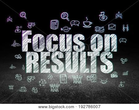 Finance concept: Glowing text Focus on RESULTS,  Hand Drawn Business Icons in grunge dark room with Dirty Floor, black background