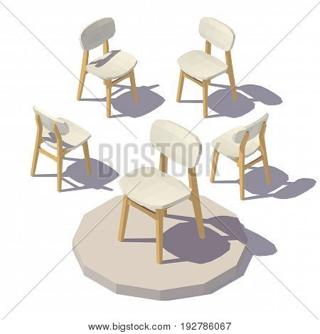 Isometric low poly Designer Chair. Vector low poly illustration.