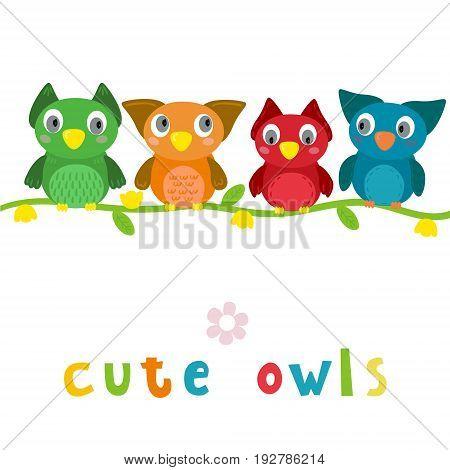 Cute Vector owls in cartoon style. vector print.