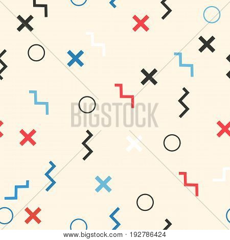 Multicolored seamless pattern with different figures. Vector abstract chaotic texture with geometrical shapes. Simple background.