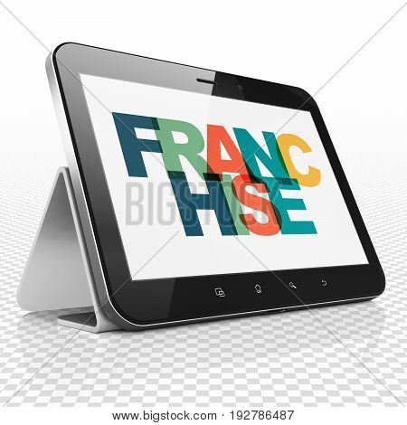 Business concept: Tablet Computer with Painted multicolor text Franchise on display, 3D rendering