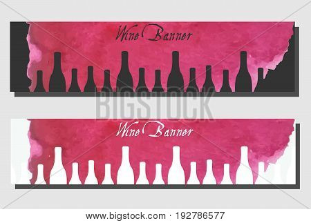 Wine banners design template. Vector flyers collection. Artistic banners cards for wine bar wine shop menu with watercolor splash and bottles