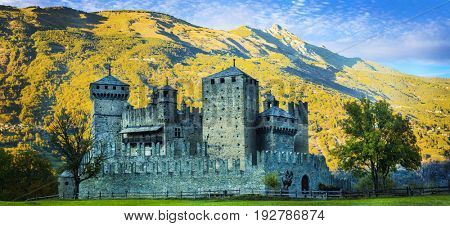 Beautiful medieval castles of Italy - Fenis in Valle d'Aosta ,mountains Alps