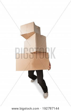 Cardboard man boxes background nobody paper pack
