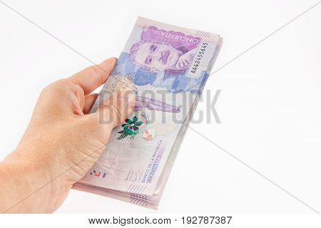 Close up of a woman handling money