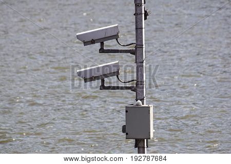Security Camera, CCTV on location at airport .