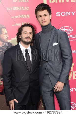 LOS ANGELES - JUN 14:  Edgar Wright and Ansel Elgort arrives for the