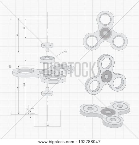Hand spinner different forms hand drawn set. Fidget toy. Sketch style. Spinner in outline and fully rendered in a technical style. Spinner on engineer or architect background. Vector illustration