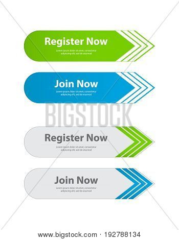 special website buttons, register, download, join  advertisement banners
