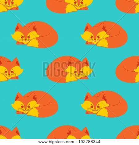 Fox Sleeps Seamless Pattern. Sleeping Wild Beast Background. Texture For Childrens Cloth