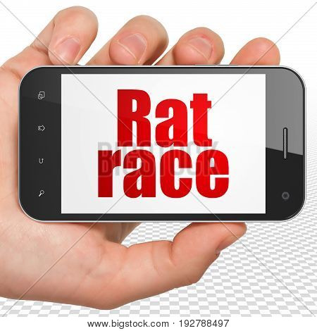 Finance concept: Hand Holding Smartphone with red text Rat Race on display, 3D rendering