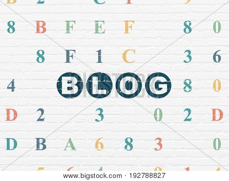 Web development concept: Painted blue text Blog on White Brick wall background with Hexadecimal Code
