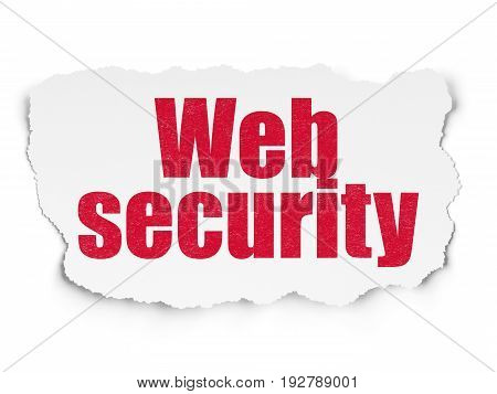 Web development concept: Painted red text Web Security on Torn Paper background with  Tag Cloud