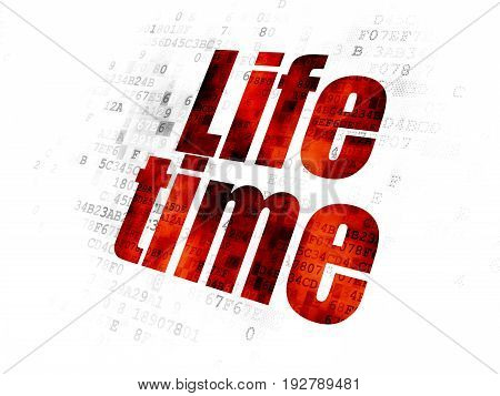 Time concept: Pixelated red text Life Time on Digital background