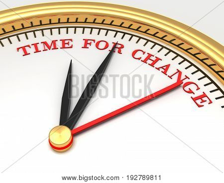 Clock with words time for change . 3d rendered illustration