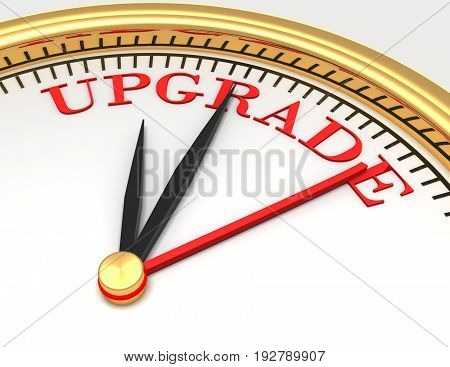 Clock with words upgrade on face . 3d rendered illustration