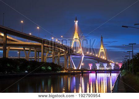 Bhumibol Bridge or Industrial Ring Road Bridge Bangkok Thailand.