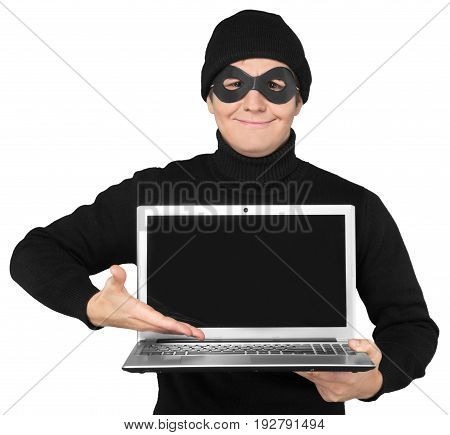 Criminal evil mask computer background isolated person