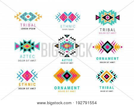 Colorful Aztec style ornamental simple geometric logo set. American indian ornate pattern design collection. Tribal decorative templates. Ethnic ornamentation. EPS 10 vector illustration.