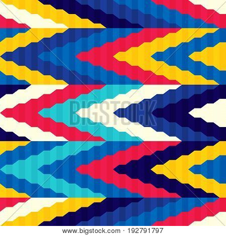 Seamless bright pattern of zigzags retro style. Contrasting colors. Ethnic style. Shirred fabric.
