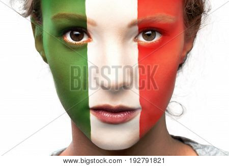 Flag italian flag expressing positivity one person facial expression youth culture human head
