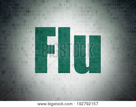 Medicine concept: Painted green word Flu on Digital Data Paper background
