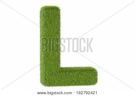 Green grassy letter L 3D rendering isolated on white background