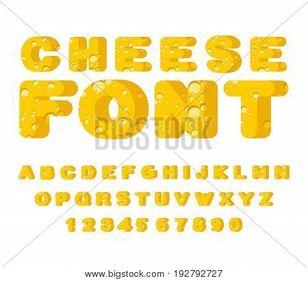 Cheese Font. Cheesy Abc. Food Alphabet. Yellow Letters Milk Product