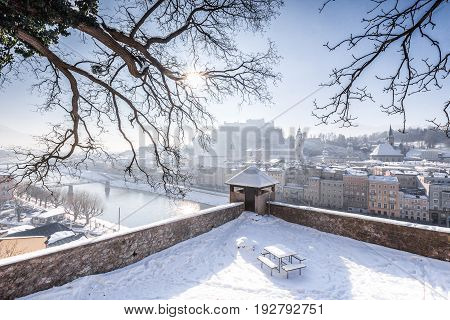 Historic Town Of Salzburg In Winter, Salzburger Land, Austria
