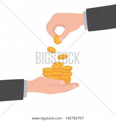 Businessman gives man a gold coin. Receiving money. Transfer of cash from hand to hand. Giving coin. Concept financial giving. Vector illustration, flat style design.
