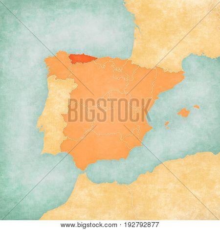 Map Of Iberian Peninsula - Asturias