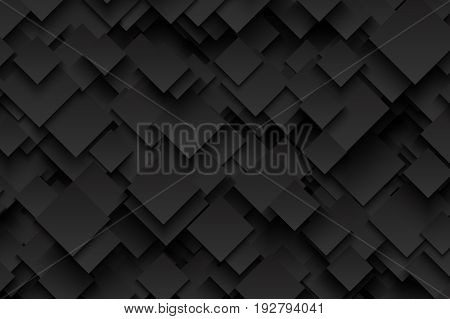 Abstract 3D Vector Technology Dark Gray Background. Technological Sharp Crystalline Carbon Structure. Blank Backdrop