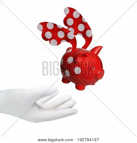 A hand in a white glove reaches for a piggy bank.