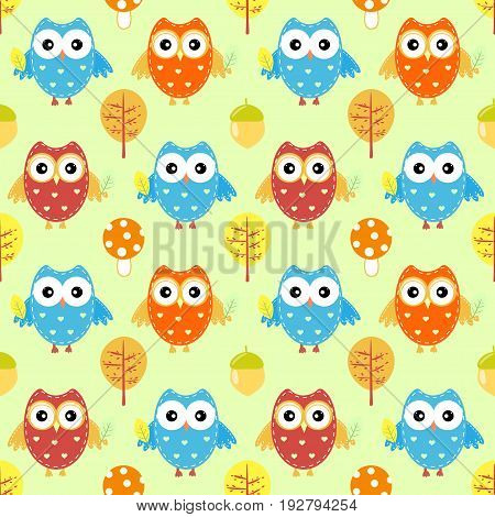 Cute owl seamless pattern autumn vector childish, textile