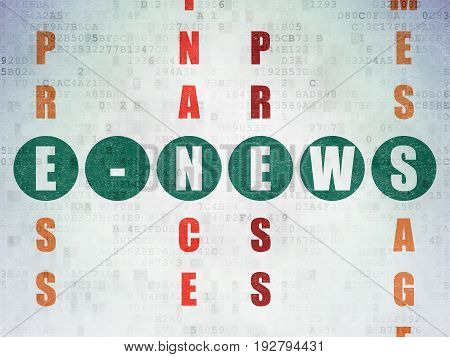 News concept: Painted green word E-news in solving Crossword Puzzle on Digital Data Paper background