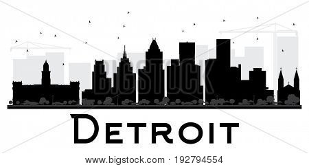 Detroit City skyline black and white silhouette. Simple flat concept for tourism presentation, banner, placard or web site. Cityscape with landmarks