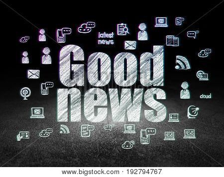 News concept: Glowing text Good News,  Hand Drawn News Icons in grunge dark room with Dirty Floor, black background