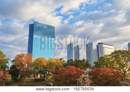 Panorama aerial view of Osaka cityscape in autumn season at Osaka Japan