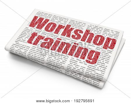 Learning concept: Pixelated red text Workshop Training on Newspaper background, 3D rendering