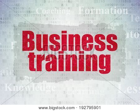 Learning concept: Painted red text Business Training on Digital Data Paper background with   Tag Cloud