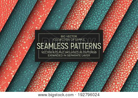 Collection of 10 Different Retro and Vintage Style Simple Vector Abstract Seamless Patterns. Handmade Tileable Stippled Dotted Background. Design Element