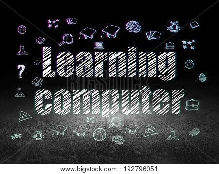 Education concept: Glowing text Learning Computer,  Hand Drawn Education Icons in grunge dark room with Dirty Floor, black background
