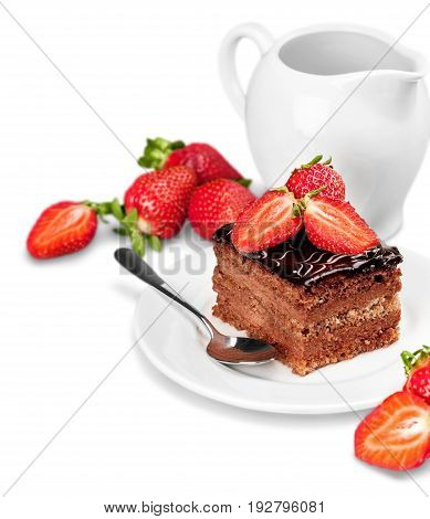 Isolated piece pie cake chocolate white background