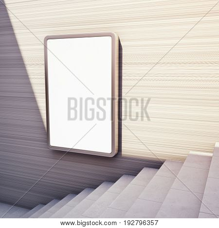Blank advertising billboard on concrete wall with steps up. 3D illustration.