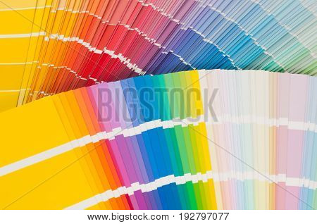 Fans with color palette, guide of acrylic paint samples