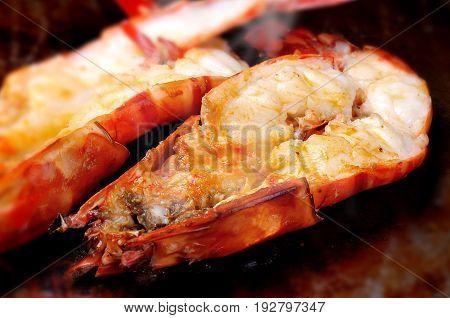 Japan food shrimp hot teppan yaki grill.