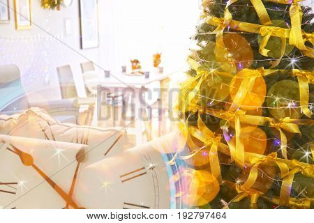 Countdown to holiday celebration. Double exposure of clock and interior with Christmas tree